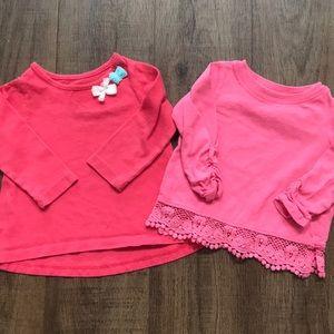 Long sleeved pink t-shirts